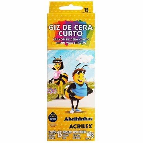 GIZ DE CERA C/15 CORES ACRILEX