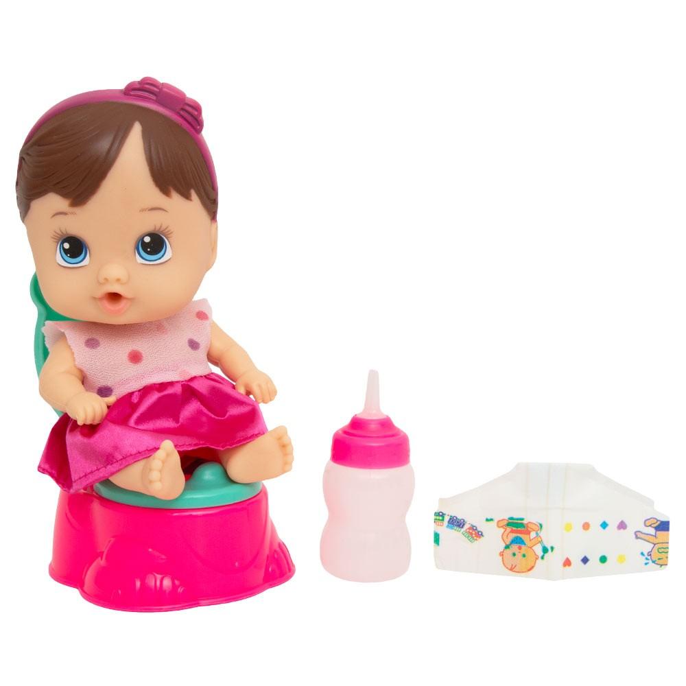 Boneca Little Dolls Faz Xixi Morena - Divertoys