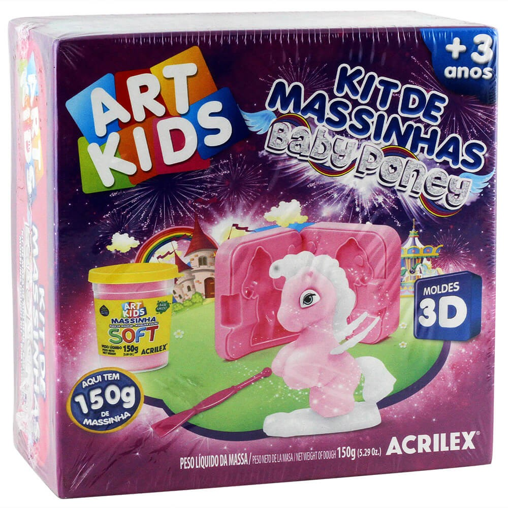 Kit de Massinhas Baby Poney Rosa Art Kids - Acrilex