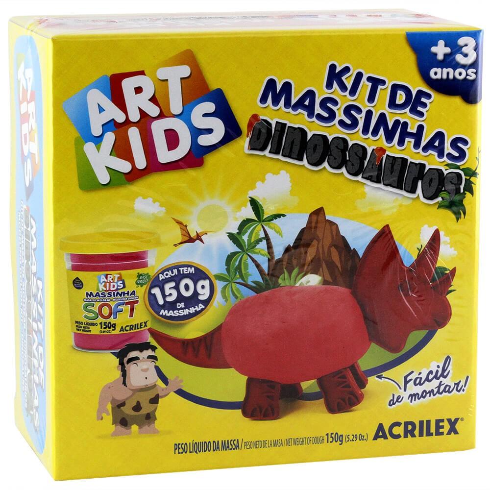 Kit de Massinhas Dinossauros Vermelho Art Kids - Acrilex
