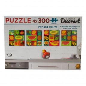 PUZZLE 4x 300 PEÇAS LINHA DECORART – POP ART FRUITS – GROW