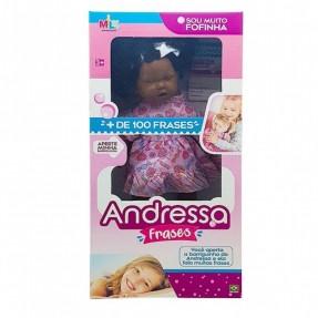 BONECA ANDRESSA FRASES NEGRA MILK
