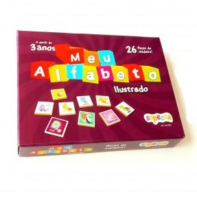 MEU ALFABETO 26PCS  ILUSTRADO MADEIRA SOPECCA