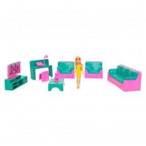 Judy Home com Boneca – Kit Sala – Samba Toys