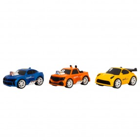 Carro Turbo Streets 3pcs Azul, Laranja e Amarelo – Usual Brinquedos